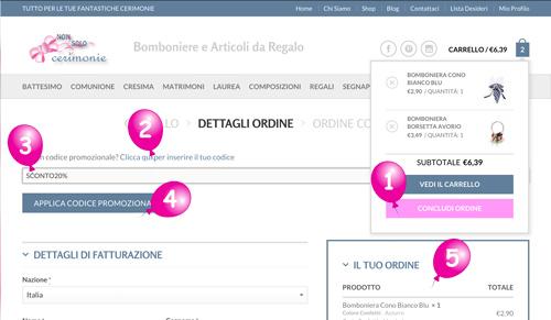 Schermata Sconto 20% Bomboniere NonSoloCerimonie.it
