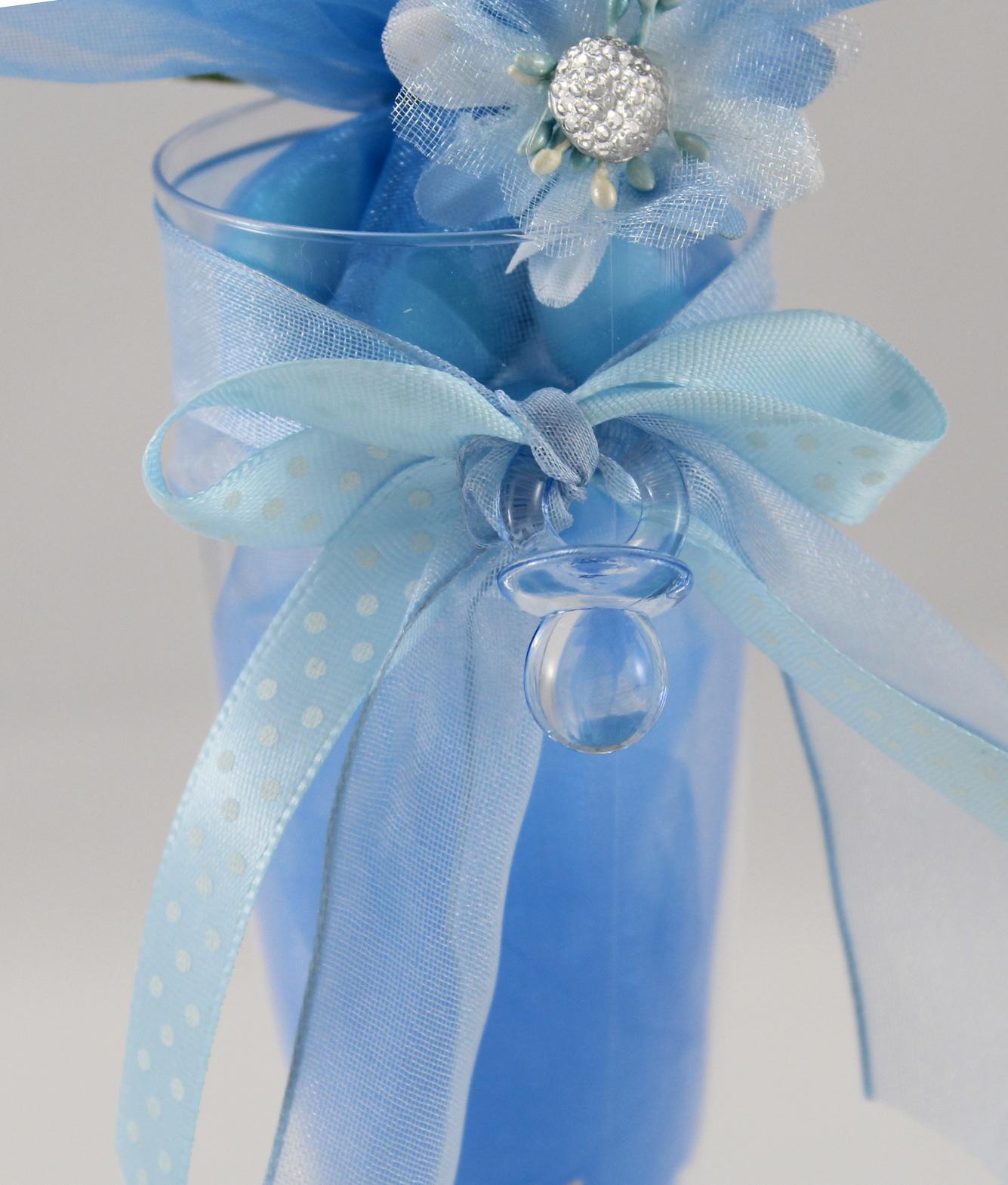 Bomboniera Matrimonio Azzurro : Segnaposto bicchiere bomboniera azzurro nascita