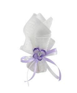 Fazzoletto bianco lilla 1 -NonSoloCerimonie.it