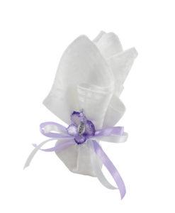 Fazzoletto bianco lilla 2 - NonSoloCerimonie.it