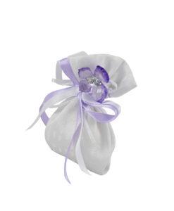 Sacchetto bianco farfalla lilla 2 - NonSoloCerimonie