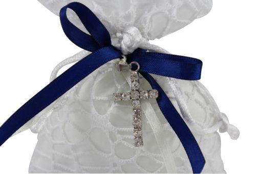 Sacchetto bianco blu croce 4 - NonSoloCerimonie.it