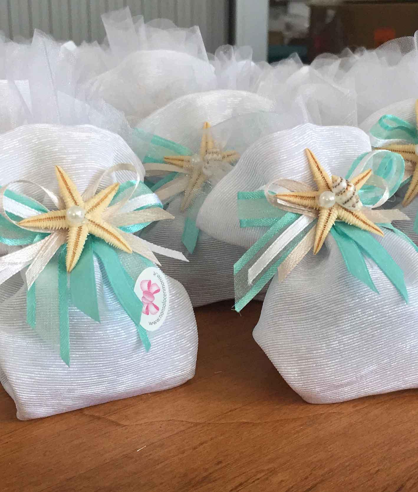Bomboniere Matrimonio Verde Tiffany.Bomboniera Sacchetto Stella Marina Bianco Nonsolocerimonie It