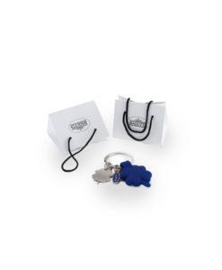 Portachiavi acciaio silicone quadrifoglio blu 4 - NonSoloCerimonie.it