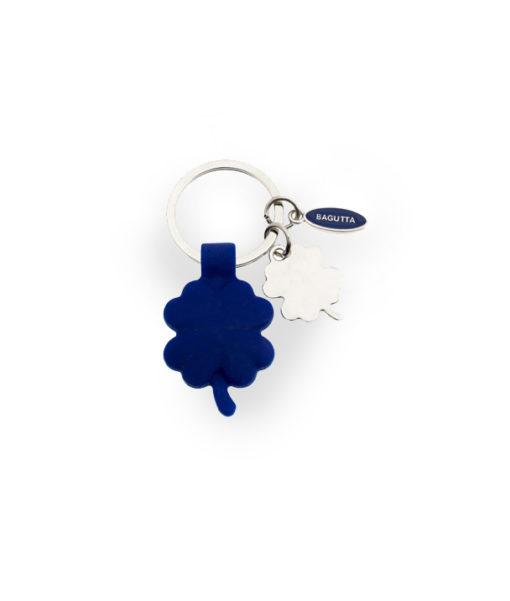 Portachiavi acciaio silicone quadrifoglio blu 3 - NonSoloCerimonie.it
