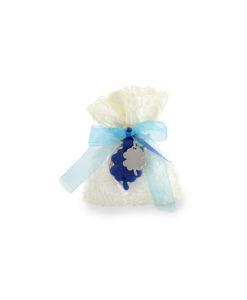Bomboniera sacchetto corallo Portachiavi silicone quadrifoglio blu - NonSoloCerimonie.it