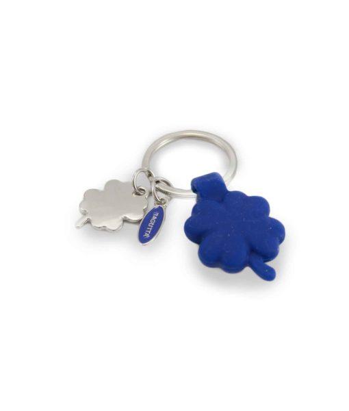 Portachiavi acciaio silicone quadrifoglio blu - NonSoloCerimonie.it