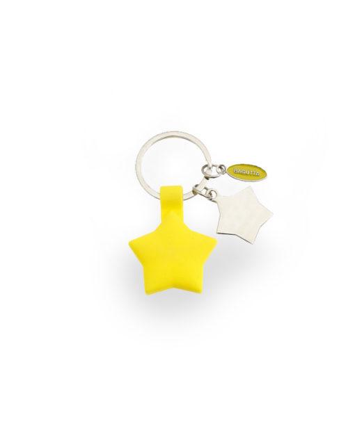 Portachiavi acciaio silicone stella gialla - NonSoloCerimonie.it