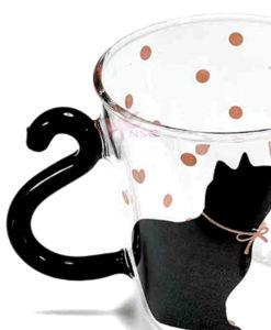 Tazza vetro gatto pois rosa 1 - NonSoloCerimonie.it