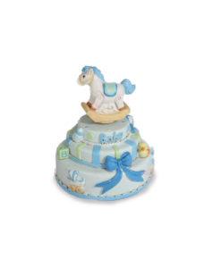Carillon Torta Cavallo Dondolo Azzurro - NonSoloCerimonie.it