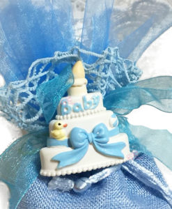 Bomboniera Sacchetto Juta Magnete Baby Azzurro 1 - NonSoloCerimonie.it