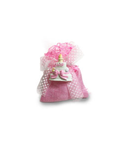 Bomboniera Sacchetto Juta Magnete Baby Rosa - NonSoloCerimonie.it
