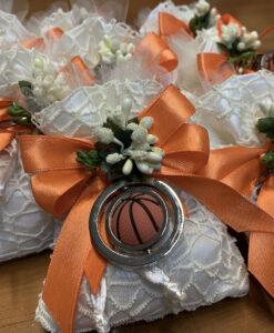 Bomboniera Sacchetto Portachiavi Pallone Basket Arancione 102 - NonSoloCerimonie.it