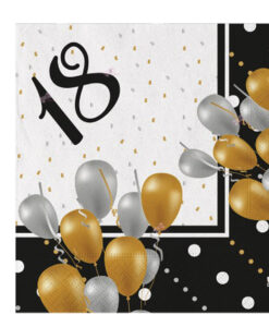 Tovaglioli Compleanno 18 Anni Nero Oro 1 - NonSoloCerimonie.it